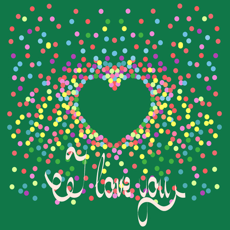 I love you card of color polka dot. Romantic symbol linked, join, love, passion and wedding. Template for t shirt, apparel, card, poster, valentine day, etc. Design element. Vector illustration