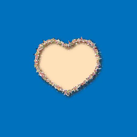 Heart sign  Isolated mark on blue background.   Design flat element  Vector illustration