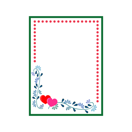 Frame rectangle of twig and heart card. Fashion graphic background. Modern stylish abstract texture.