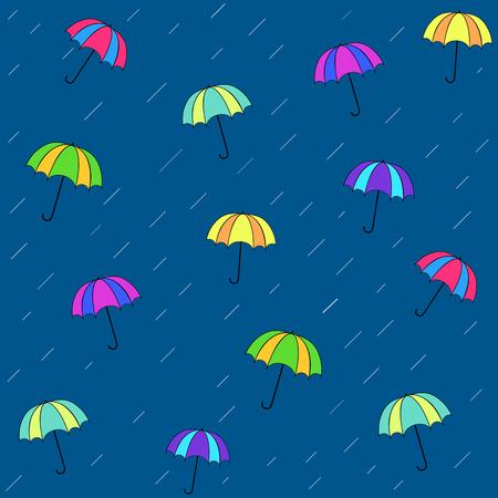 Rain date seamless pattern. Silhouette umbrella and rain on blue background.Template for t, apparel, card, poster. Design element. Umbrella as symbol of rain. Vector illustration Illustration