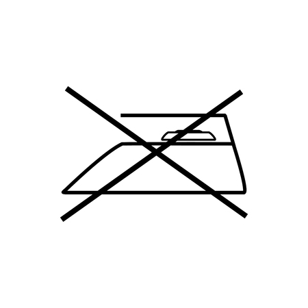 Zorg voor kledinglabel. Niet strijken. Informatie voor de industrie. Instructie voor man en was over wassen, kleden, beddengoed. Monochroom stickersjabloon voor prints. Vector illustratie