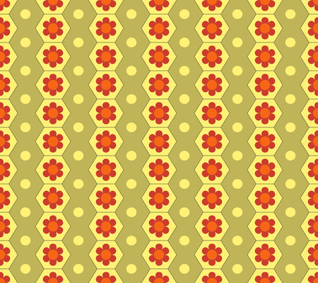 Honeycomb and flower seamless pattern. Fashion graphic background design. Illustration