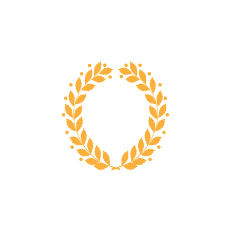 Laurel wreath reward gold. Modern symbol of victory and award achievement champion. Leaf ceremony awarding of winner tournament. Colorful template for badge, tag. Design element. Vector illustration
