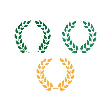 Laurel wreath reward set. Modern symbol of victory and award achievement champion. Leaf ceremony awarding of winner tournament. Colorful template for badge, tag. Design element. Vector illustration Illustration