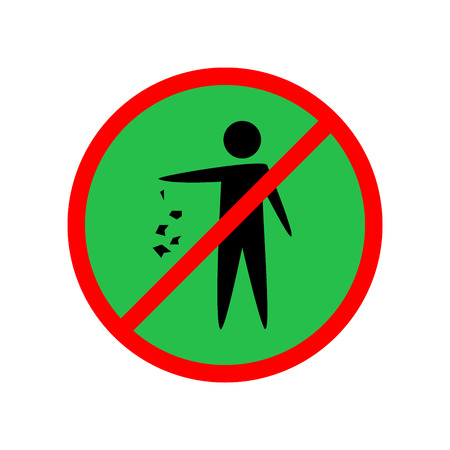 Do not litter sign. Silhouette person on green background. No throwing garbage mark in red circle. Take care of clean nature symbol. Colorful template for badge, banner, label. Vector illustration. Illustration