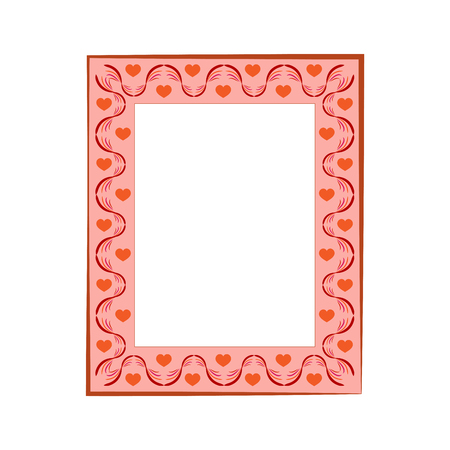 Frame rectangle of wavy line and heart. Fashion graphic background. Modern stylish abstract texture. Colorful template for prints, textiles, wrapping, photo. Design element. Vector illustration
