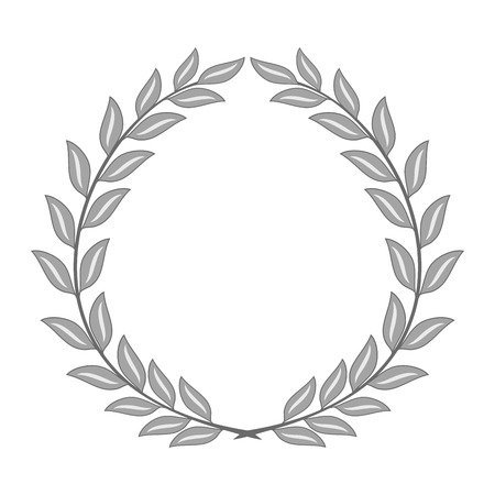 Laurel wreath reward. Modern symbol of victory and award achievement champion. Leaf ceremony awarding of winner tournament. Monochrome template for badge, tag. Design element. Vector illustration