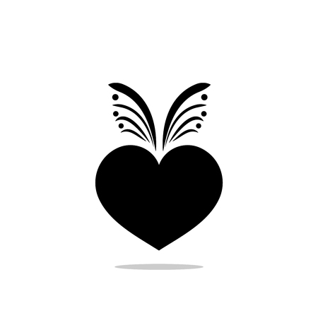 Heart sign. Isolated black mark on white background. Symbol linked, join, love, passion and wedding. Template for t shirt, apparel, card, poster, valentine day. Design flat element Vector illustration