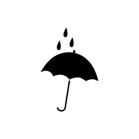 Umbrella in square sign. Romantic icon health isolated. Design element. Monochrome symbol of rain. Template for t, apparel, card, poster, etc. Vector illustration