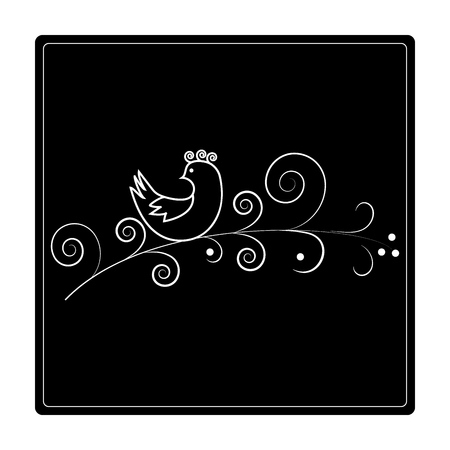 Bird on twig in square. Design illustration decorative nature for pattern. Symbol decorative wildlife and summer forest sign. Template for t shirt, card, poster. Design element. Vector illustration Illustration