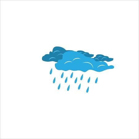 Starkregenzeichen. Wettersymbol. Teilweise bewölktes Zeichen. Düstere Wolken auf weißem Hintergrund. Stirnrunzelndes Himmelslogo. Flaches Vektorbild. Gestaltungselement. Vektorillustration