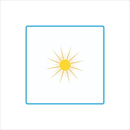 Weather icon. Suny day sign. The sun on white background in square. Bright, sunny icon good mood. Isolated logo spring, summer. Symbol hot, good weather. Flat vector image. Vector illustration. Illustration