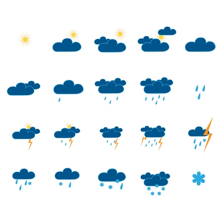 Weather icon set. Meteorology symbol weather forecast. Isolated icons prognosis weather. Design element. Colorful symbol of sky. Template for weather forecast. Flat vector image. Vector illustration Illustration