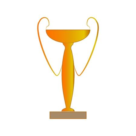 Gold cup award sign. Modern symbol of victory, award achievement sport. Insignia ceremony awarding of winner tournament. Colorful template for badge, tag, etc. Design element. Vector illustration Ilustração
