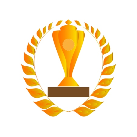 Gold laurel wreath around cup. Gold laurel wreath around cup achievement sport. Insignia ceremony awarding of winner tournament. Colorful template for badge, banner Design element. Vector illustration Illustration