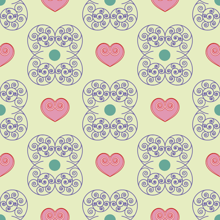 Heart and spiral seamless pattern. Fashion graphic design. Modern stylish texture. Colorful template for prints, textiles, wrapping, wallpaper, card, banner, business. Vector illustration Illustration