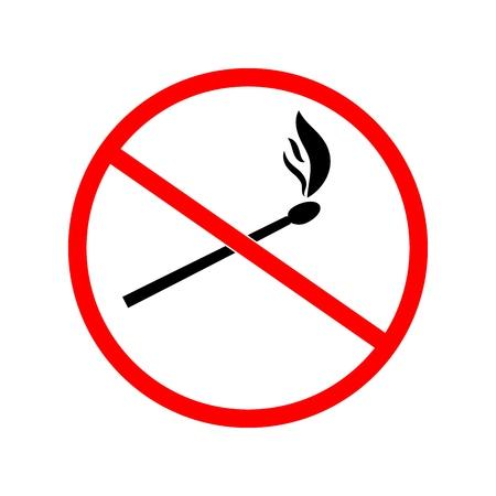 Do not kindle color fire. Red sign forewarn of danger. Symbol danger open flame. Warning restricted ignition campfire. Colorful sign for banners, posters. Symbol warning. Flat vector illustration 向量圖像