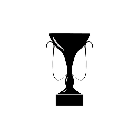 Cup wreath black sign. Modern symbol of victory, award achievement sport. Insignia ceremony awarding of winner tournament. Monochrome template for badge, tag, etc. Design element. Vector illustration Illustration