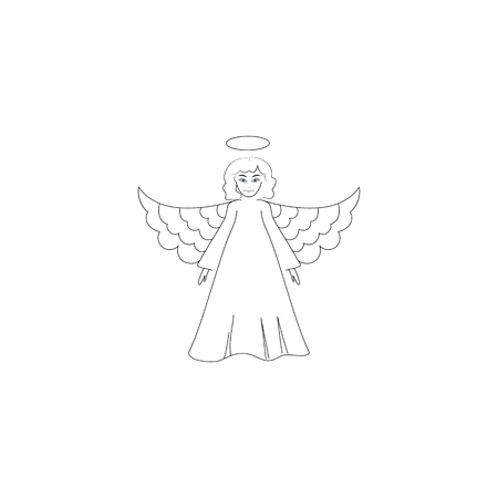 Angel silhouette. Biblical personage. Symbol christmas season, holiday easter, religion, and love. Monochrome template for prints, textiles, greeting card, banner. Design element. Vector illustration