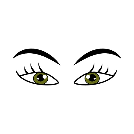 Eyes green woman cartoon sign. Darling isolated icon. Fashion graphic design flat element. Modern stylish abstract symbol. Colorful template for prints, logo, label, tattoo, sign. Vector illustration