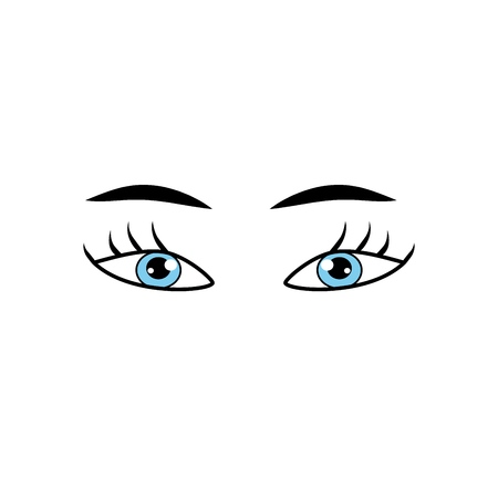 Eyes blue woman cartoon sign. Darling isolated icon. Fashion graphic design flat element. Modern stylish abstract symbol. Colorful template for prints, logo, label, tattoo, sign. Vector illustration Banque d'images - 111819814