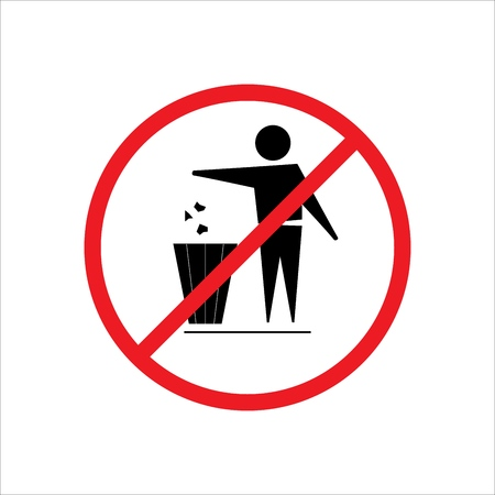 Do not litter sign. Silhouette person on white background. No throwing garbage mark in red circle. Take care of clean nature symbol. Colorful template for badge, banner, label. Vector illustration