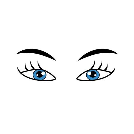Eyes blue sign. Illustration isolated icon. Fashion graphic design flat element. Modern stylish abstract symbol. Colorful template for prints, logo, label, tattoo, sign. Vector illustration Çizim