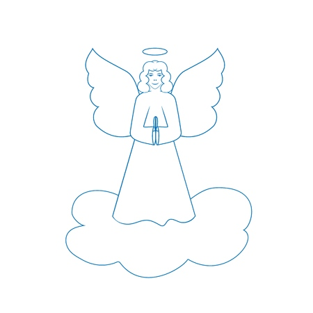 Angel on cloudy blue silhouette. Biblical personage. Religion symbol christmas season, holiday easter and love. Colorful template for printed, greeting card. Design element. Vector illustration