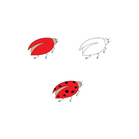 Ladybirds set. Illustration ladybug on white background. Cute colorful sign insect symbol spring, summer, garden. Template for t shirt, apparel, card. Design element. Vector illustration Ilustração