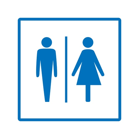 Blue silhouette men and women icon in white square. Sign restroom women and men. Icon public toilette and bathroom for hygiene. Template for poster,sign. Flat vector image. Vector illustration.