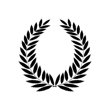 Black laurel wreath reward. Modern symbol of victory and award achievement champion. Leaf ceremony awarding of winner tournament. Monochrome template for badge, etc. Design element Vector illustration Vettoriali