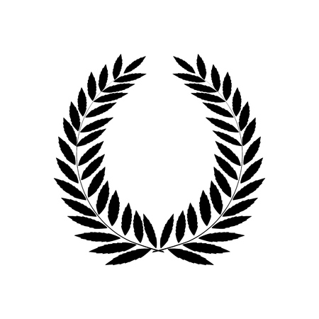 Black laurel wreath reward. Modern symbol of victory and award achievement champion. Leaf ceremony awarding of winner tournament. Monochrome template for badge, etc. Design element Vector illustration Illustration