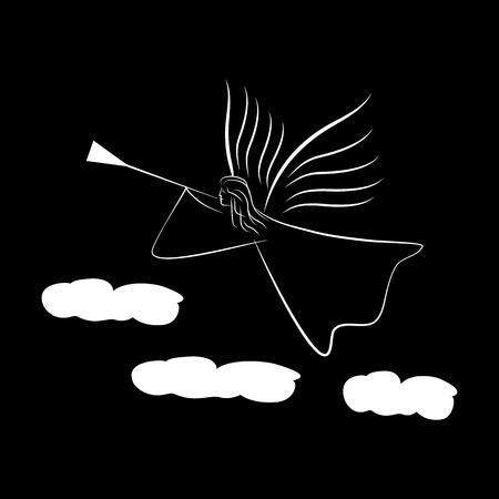 Silueta abstracta de ángel. Personaje bíblico. Símbolo de la religión temporada navideña, vacaciones de semana santa y amor. Plantilla monocromática para impresos, pancartas, tarjetas de felicitación. Elemento de diseño. Ilustración vectorial Ilustración de vector