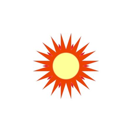 Sun sign on white background. Orange solar symbol. Sol icon vector flat. Sun basic symbol. Sticker sun isolate on background. Flat vector image. Sun picture, graphic. Vector illustration. Foto de archivo - 112367153
