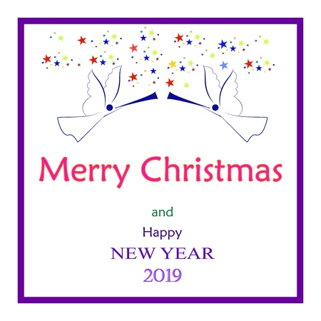 Merry Christmas and Happy New Year lettering and 2019 in white square. Fashion graphic background design. Modern abstract texture. Colorful template for prints, card, poster. Vector illustration. Illustration