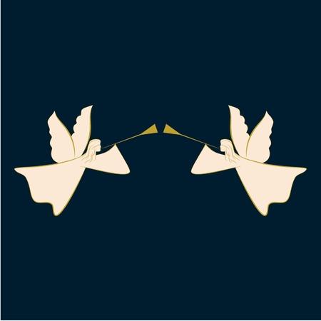 Abstrakte Silhouette mit zwei Engeln. Biblische Persönlichkeit. Religion Symbol Weihnachtszeit, Feiertag Ostern und Liebe. Bunte Vorlage für gedruckte, Banner, Grußkarten. Gestaltungselement. Vektor-Illustration