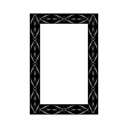 Frame with wavy line. Fashion graphic background. Modern stylish abstract texture. Monochrome template for prints, textiles, wrapping, wallpaper, photo, etc. Design element. Vector illustration Ilustracja
