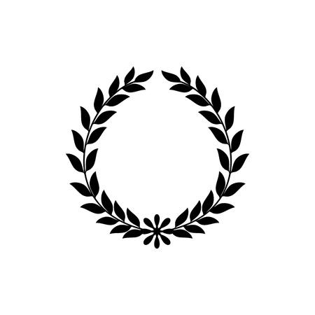 Black laurel wreath sign. Modern symbol of victory and award achievement champion. Leaf ceremony awarding of winner tournament. Monochrome template for badge, etc. Design element Vector illustration