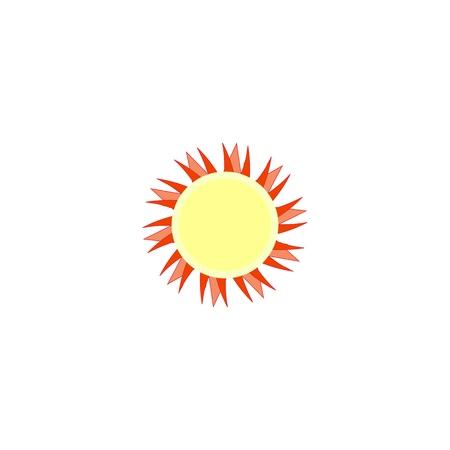 Sun sign on white background. Orange solar symbol. Sol icon vector flat. Sun basic symbol. Sticker sun isolate on background. Flat vector image. Sun picture, graphic. Vector illustration.