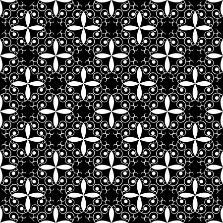 Abstract seamless pattern. Fashion graphic on black background design. Modern stylish abstract texture. Monochrome template for prints, textiles, wrapping, wallpaper, website etc. Vector illustration Vettoriali