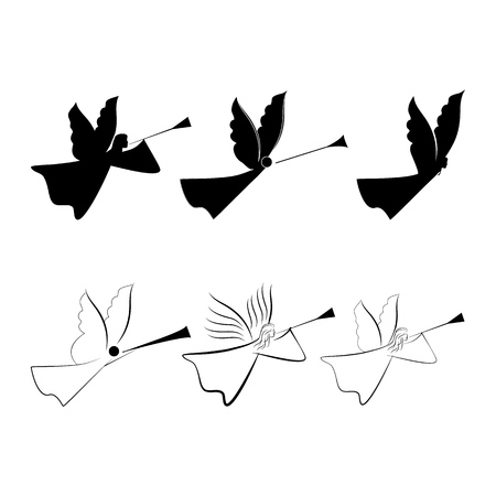 Angels abstract silhouette. Biblical personage. Religion symbol christmas season, holiday easter and love. Monochrome template for printed, banner, greeting card. Design element. Vector illustration