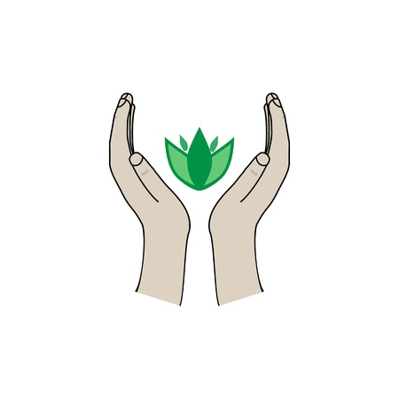 Leaf in two palms on white background sign. Modern symbol for ecology, environment, nature, agriculture. Template for logo, template, t shirt, card, poster. Design element. Vector illustration