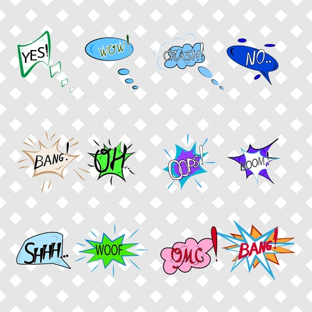 Comics sound speech effect bubbles isolated on white background illustration. Wow, bang, crash, woof, no, yes, boom, oh, omg, oops inscriptions. Humorous set for cloud speech. Vector illustration.