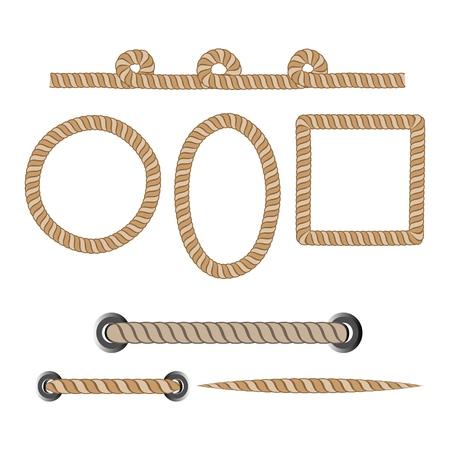 Nautical rope. Round and square rope frames, cord borders. Sailing vector decoration elements. Rope marine, nautical border, cord round, string, knot twisted. Design element. Vector illustration.