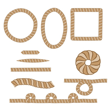 Nautical rope. Round and square rope frames, cord borders. Sailing vector decoration elements. Rope marine, nautical border, cord round, string, knot twisted. Design element. Vector illustration. 免版税图像 - 127024826