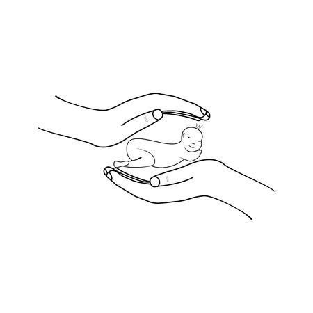 Bebé en las manos en la muestra de fondo blanco. Símbolo moderno de seguridad, niño, caridad, protección, apoyo, adopción. Plantilla para logotipo, etiqueta, cartel, camiseta, etc. Elemento de diseño. Ilustración vectorial