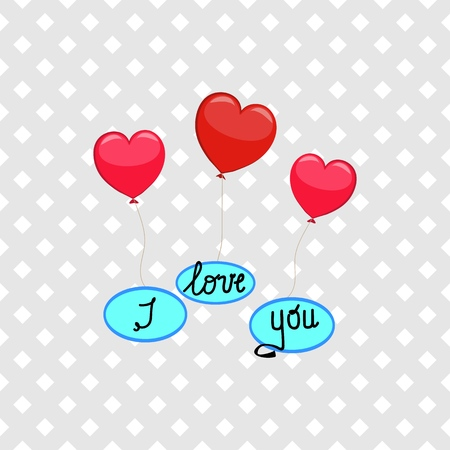 Heart for holiday card. Red sign on white background. Romantic silhouette symbol and lettering I love you. Colorful mark for valentine day and wedding, card, etc. Design element. Vector illustration