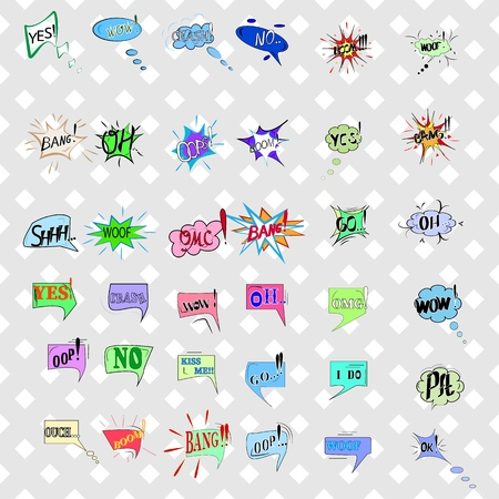 Comics sound speech effect bubbles isolated on white background illustration. Wow, bang, woof, oh, ok, yes, boom, go, pft inscriptions. Humorous set for cloud speech. Vector illustration.