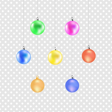 Christmas color ball. Colorful decoration illustration on gray background. Symbol merry christmassy and celebration winter, for card. Isolated graphic element. 3D vector image. Vector illustration Vettoriali