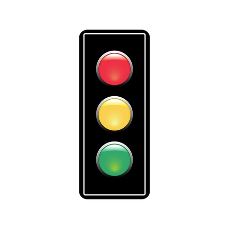 Ampelzeichen. Symbol-Ampel auf weißem Hintergrund. Symbol regulieren Bewegungssicherheit und Warnung. Stromsemaphore regeln den Transport auf der Kreuzung der städtischen Straße. Flache Vektorillustration. Vektorgrafik